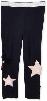 Baby Sara Toddler Girls) Black Faux Fur Star Patch Leggings