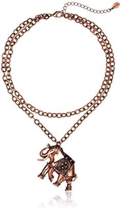 Coppertone 1928 Jewelry Trend Antiqued Copper-Tone Elephant Pendant Necklace