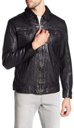 Campaign Black Leather Collared Jacket