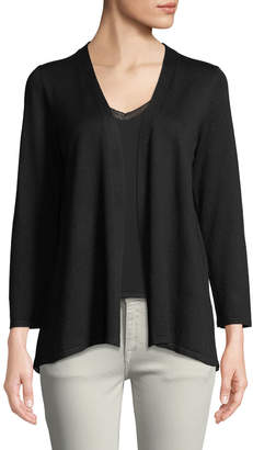 Neiman Marcus Pleated-Back Open-Front Cardigan