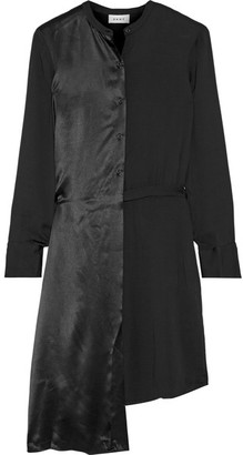 DKNY - Asymmetric Paneled Crepe And Satin Shirt Dress - Black $400 thestylecure.com