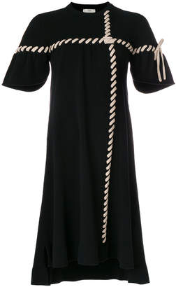 Fendi contrast stitched flared dress