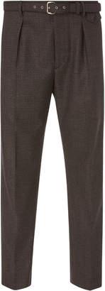 Prada Cropped Belted Wool-Crepe Slim-Leg Pants