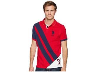 U.S. Polo Assn. Button-Down Slim Fit Flag Diagonal-88 Men's Short Sleeve Knit