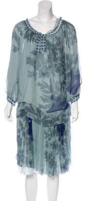 Alberta Ferretti Floral Print Silk Dress