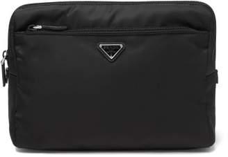 Prada Logo Plaque Large Wash Bag - Womens - Black