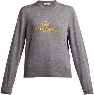 Balenciaga Logo-embroidered virgin-wool sweater