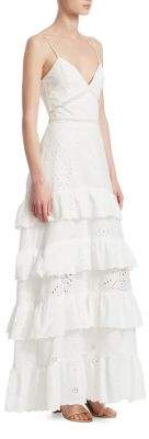 Nicholas Eyelet Ruffle Maxi Dress
