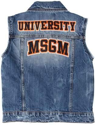 MSGM Cotton Denim Vest W/ Patches