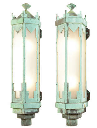 Rejuvenation Pair of Monumental Art Deco Copper Sconces