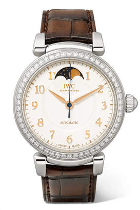 IWC SCHAFFHAUSEN Da Vinci Automatic Moon Phase 36mm Stainless Steel, Alligator And Diamond Watch - Silver