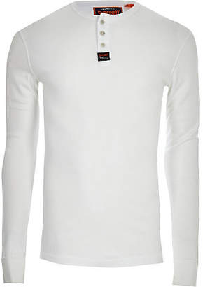 River Island Superdry white knit button long sleeve shirt