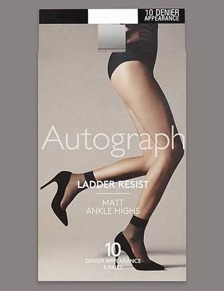 Marks and Spencer 3 Pair Pack 10 Denier Ladder Resist Matt Ankle High