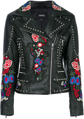 Arma studded embroidered patch biker jacket