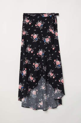 H&M Long Wrap-front Skirt - Black/floral - Women