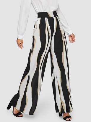 Shein Wide Waist Color Block Wide Leg Pants