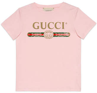 Gucci Vintage Logo Short-Sleeve Jersey T-Shirt, Size 4-10