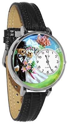 Whimsical Watches Unisex U1340002 Teddy Bear Wedding White Leather Watch