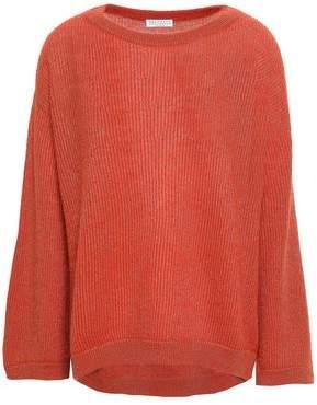 Brunello Cucinelli Metallic Ribbed Open-knit Sweater