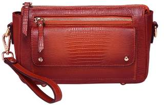 Vicenzo Leather Dara Lizard Embossed Leather Crossbody Bag