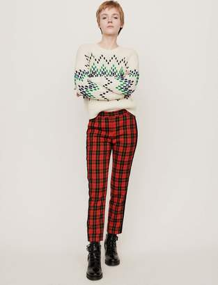 Maje Velvet piped plaid pants