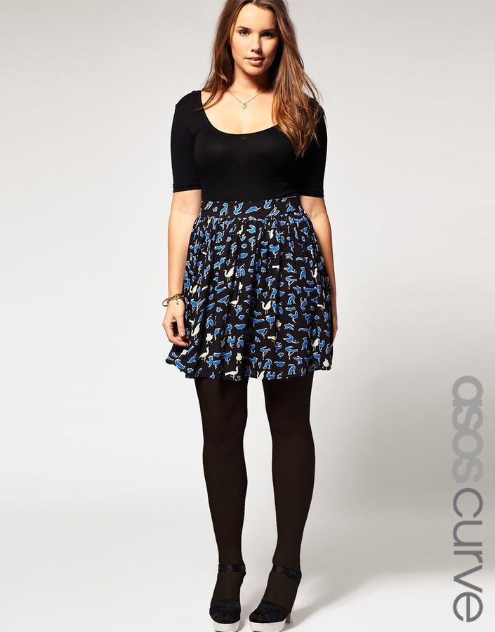 ASOS CURVE Exclusive Blue Bird Print Skirt
