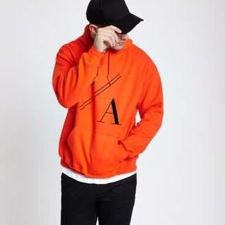 River Island Mens Orange 'LA' print long sleeve hoodie