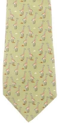 Salvatore Ferragamo Giraffe Print Silk Tie