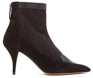 Tabitha Simmons Alana Glittered Suede Ankle Boots - Womens - Black
