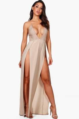 boohoo Lace Top Thigh Split Maxi Dress