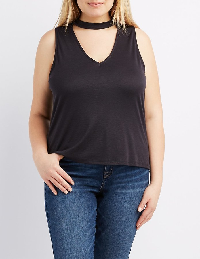 Plus Size Ribbed Choker Neck Top