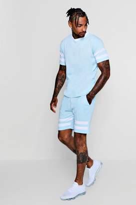 boohoo Chevron T-Shirt And Shorts Set