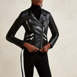 River Island Black RI Studio leather quilted biker jacket