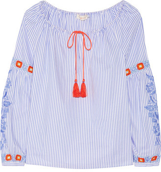 Tory Burch - Madison Embroidered Striped Cotton Oxford Tunic - Azure $325 thestylecure.com