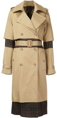 Maison Margiela check panel trench coat