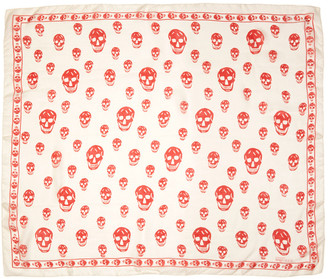 Alexander McQueen Ivory & Red Skull Scarf $295 thestylecure.com