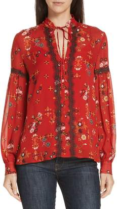 Derek Lam 10 Crosby Print Lace Trim Silk Blouse