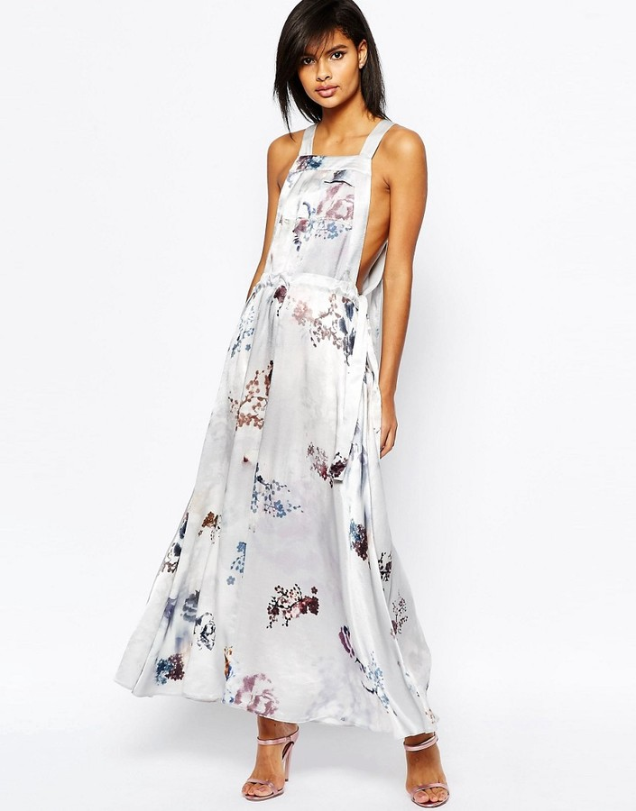 Asos ASOS Overall Maxi Dress in Blurred Floral Print