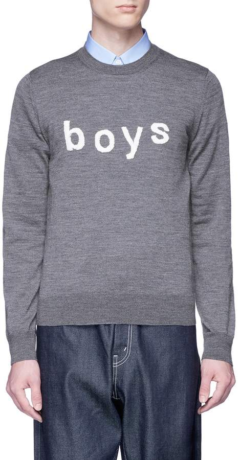 'Boys' embroidered wool sweater