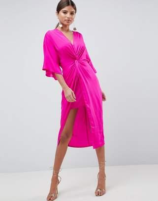 Asos Design DESIGN Knot Front Kimono Midi Dress