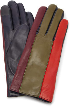 Maison Fabre Debby Color-Blocked Leather Gloves