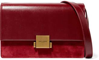 Saint Laurent Bellechasse Leather And Suede Shoulder Bag - Burgundy