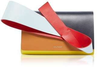 DELPOZO Color Block Patent & Smooth Leather Orchid Clutch