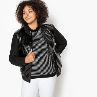 CASTALUNA PLUS SIZE Faux Leather Bomber Jacket