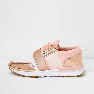 River Island Girls rose gold scuba mesh runner trainers