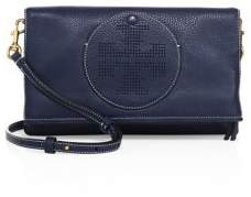 Tory Burch Tory Burch Perforated Logo Fold-Over Leather Crossbody Bag