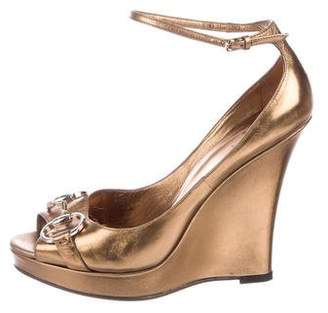 a8196ab90fddd0 Pre-Owned at TheRealReal Gucci Horsebit Peep-Toe Wedges Sandals