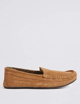 "Marks and Spencer Suede Moccasin Slippers with Thinsulateâ""¢"