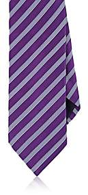 Barneys New York MEN'S STRIPED SILK-COTTON NECKTIE-PURPLE
