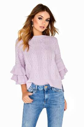 Girls On Film Outlet Frill Sleeve Knit
